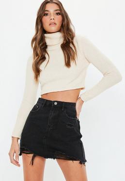 Black Ripped A Line Denim Mini Skirt