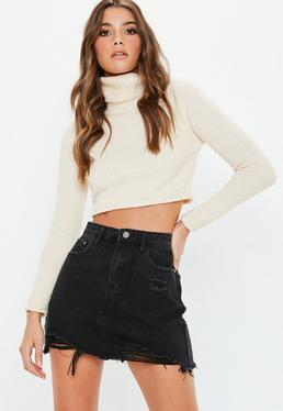 Black Ripped A Line Denim Mini Skirt