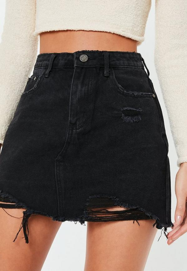 Black Ripped A Line Denim Mini Skirt | Missguided