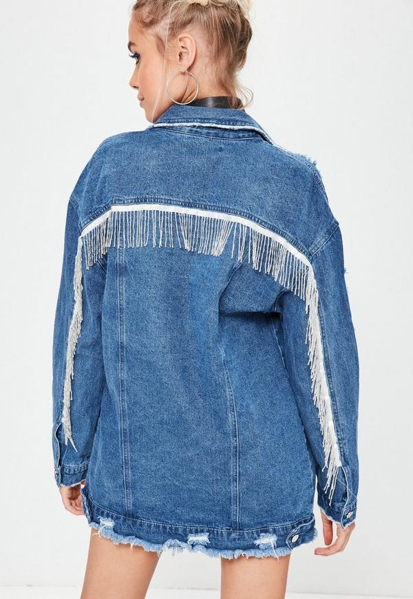 Blue Silver Embellished Fringe Detail Denim Jacket