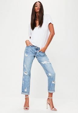 Blue Denim Mid Rise Boyfriend Jeans