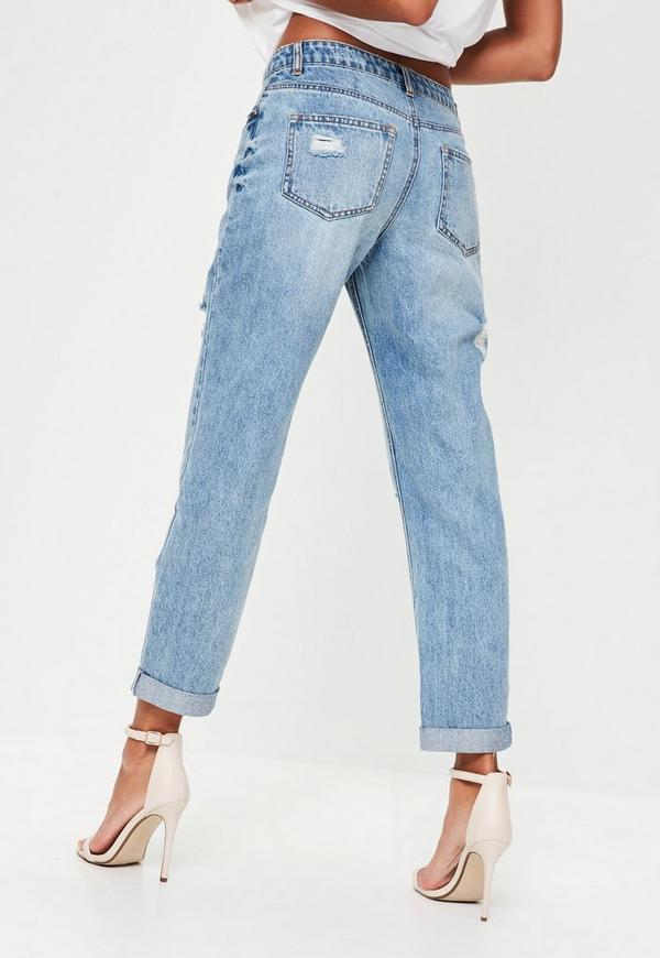 blue denim mid rise boyfriend jeans missguided australia. Black Bedroom Furniture Sets. Home Design Ideas