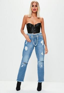 Blue Wrath Eyelet Chain Belt Straight Leg Jean