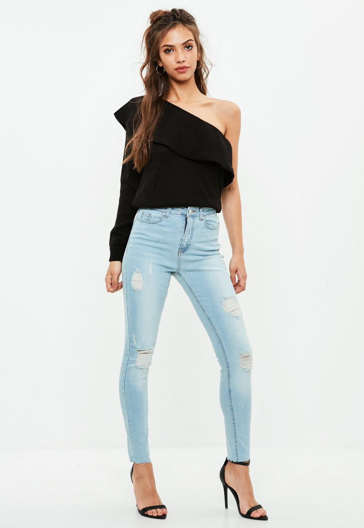 ... Blue Sinner High Waisted Ripped Skinny Jeans - Womens Jeans Ripped, Skinny & Boyfriend Jean - Missguided