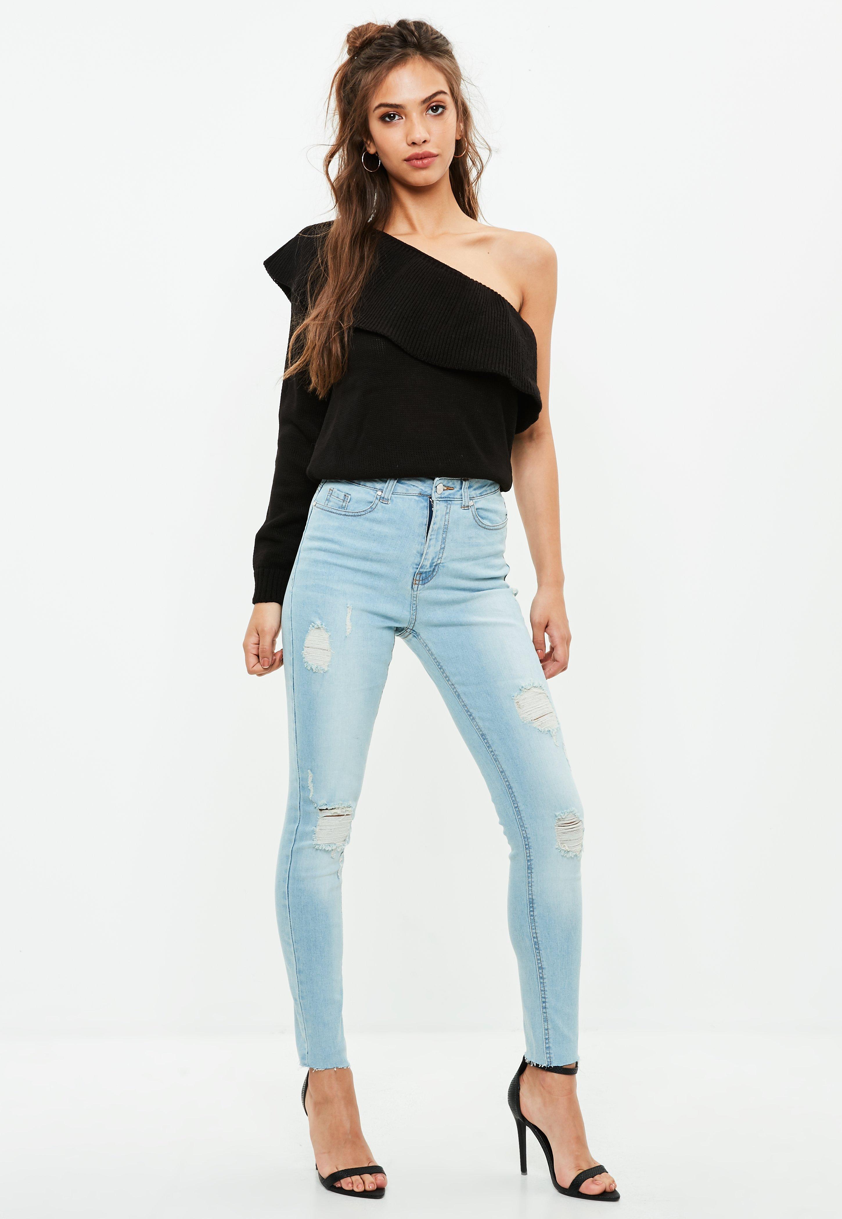 cc0c3b43377 Missguided Blue Sinner High Waisted Ripped Skinny Jeans at £25 ...