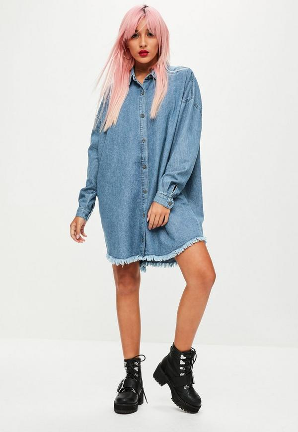 Blue oversized denim shirt dress missguided for Blue dress shirt outfit