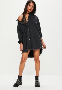 Czarna jeansowa koszulowa sukienka