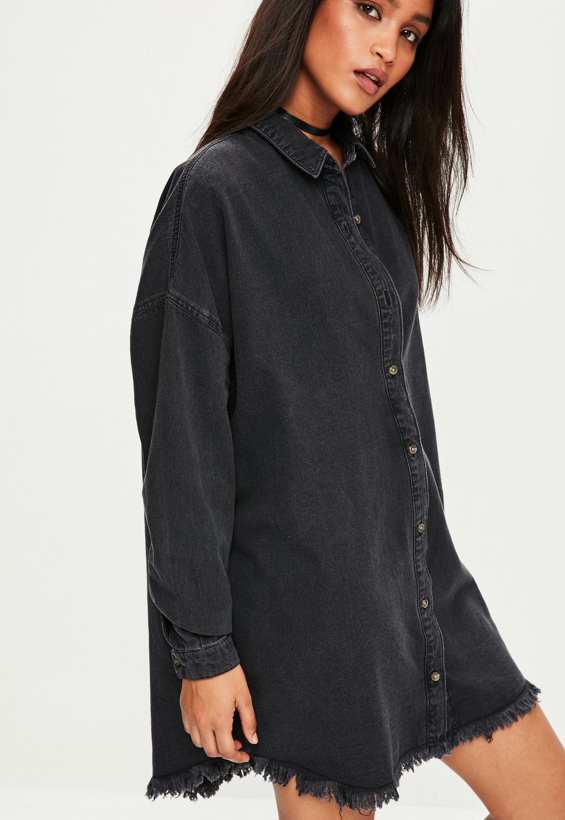 9e31b80eb5f Missguided - Black Oversized Denim Shirt
