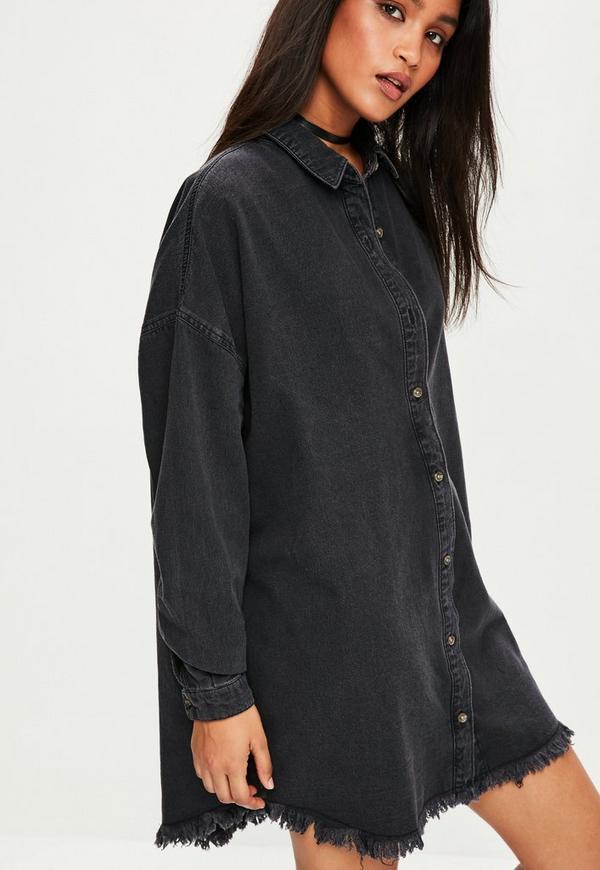 robe chemise noire oversize en jean missguided. Black Bedroom Furniture Sets. Home Design Ideas