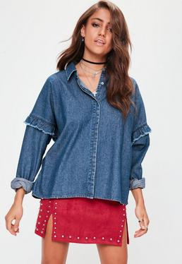 Blue Frill Detail Denim Shirt