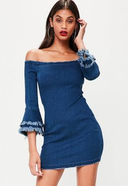 Blue Denim Bardot Dress