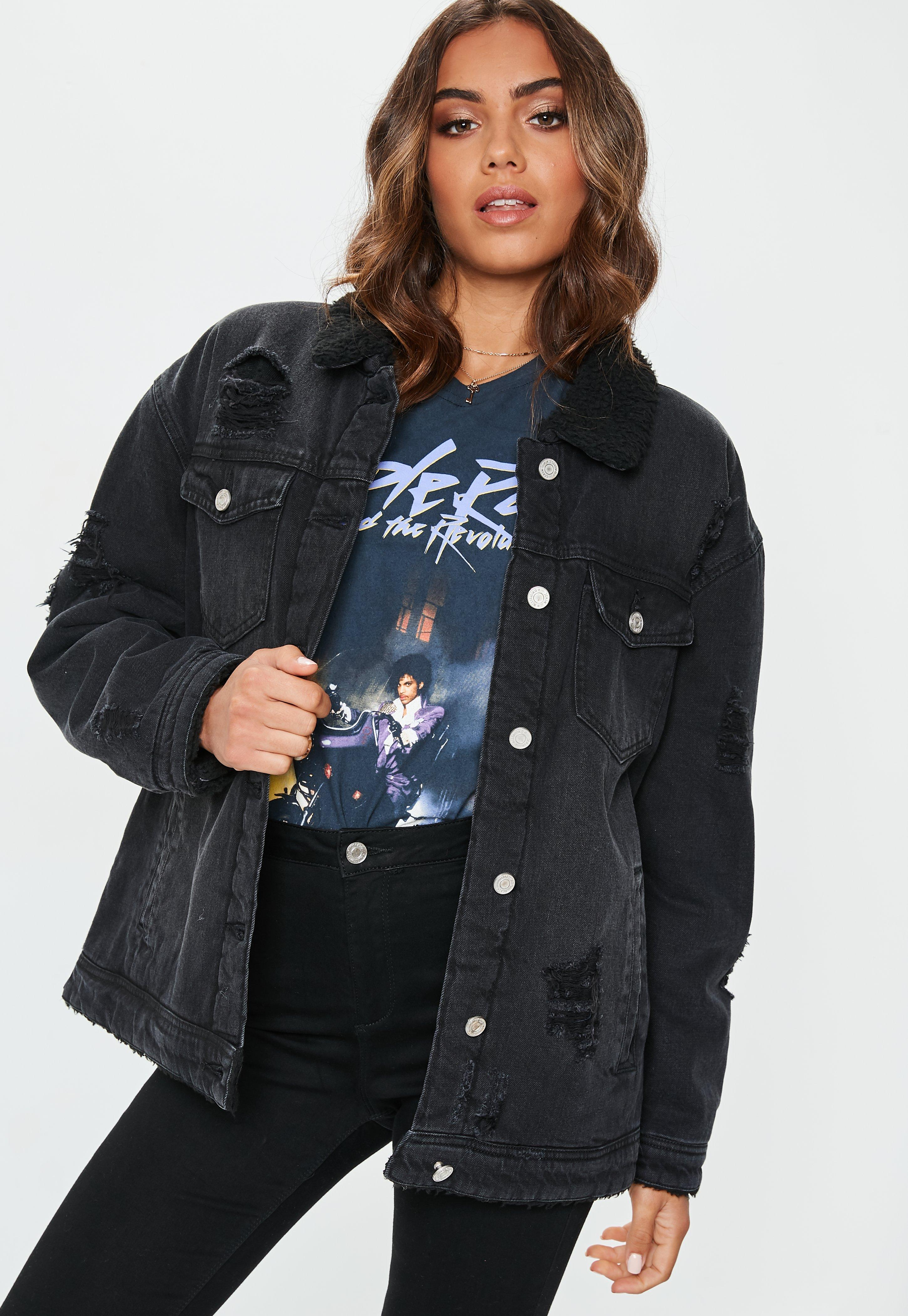 factory outlet good lowest price Black Borged Lined Denim Trucker Jacket