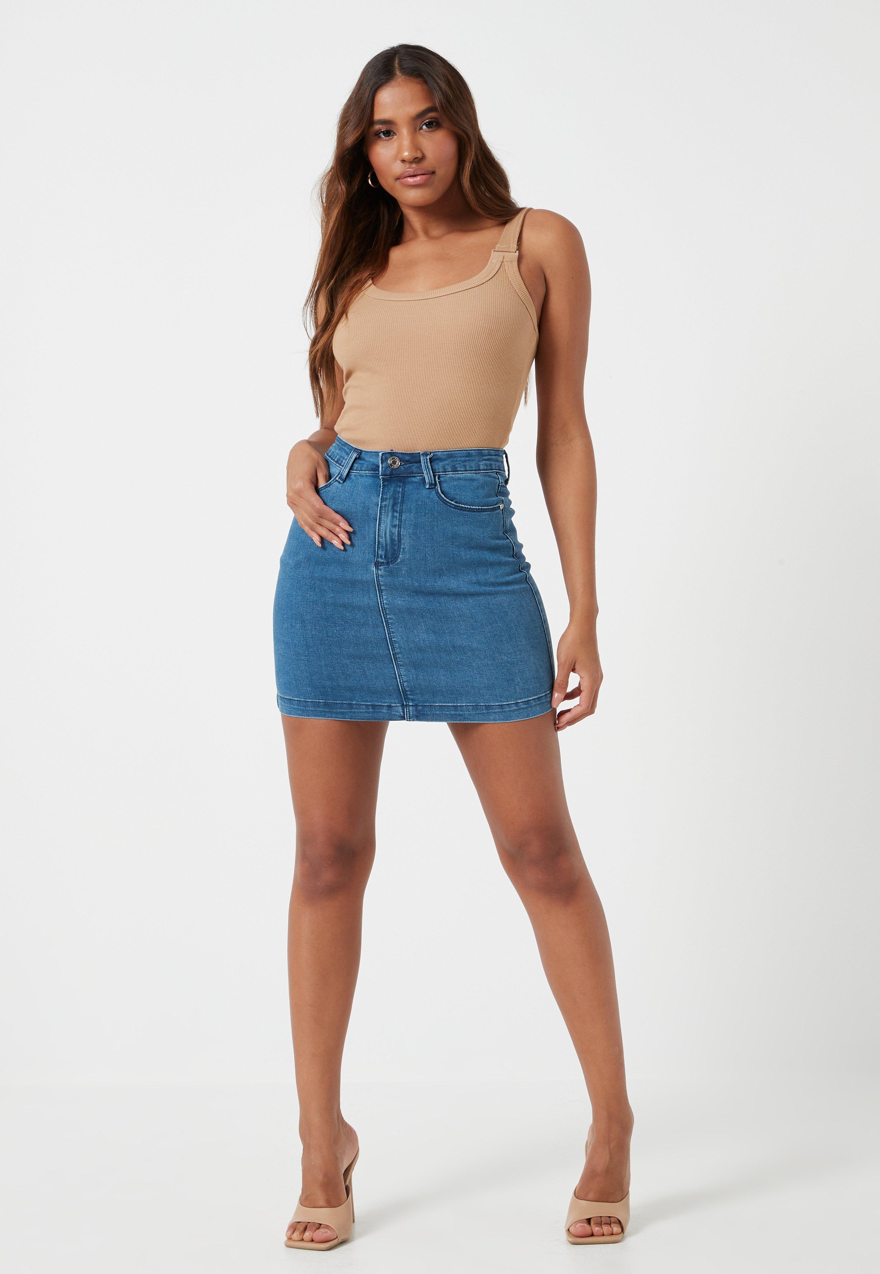 07ff9dae79e Mini-jupe en jean bleue super stretch