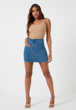 Minifalda vaquera elástica en azul