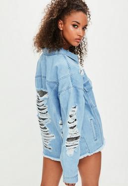 Londunn + Missguided Niebieska jeansowa kurtka z srebrnymi zdobieniami