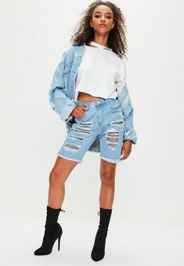 Londunn + Missguided Verzierte Bermuda Denim-Shorts in Blau