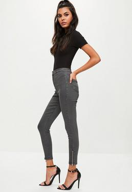 Grey Vice High Waisted Zip Ankle Skinny Jeans