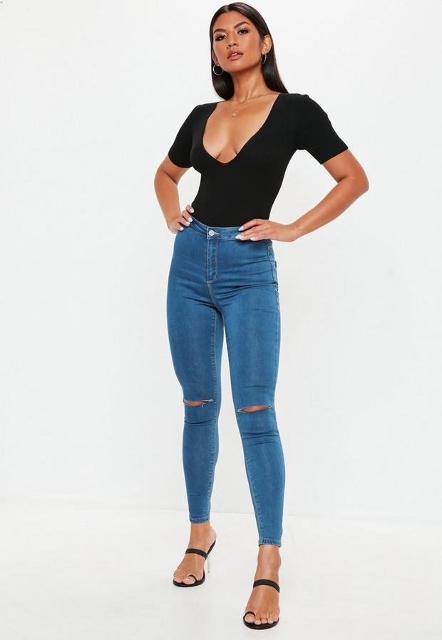 Missguided - High Waisted Slash Knee Skinny Jeans - 1
