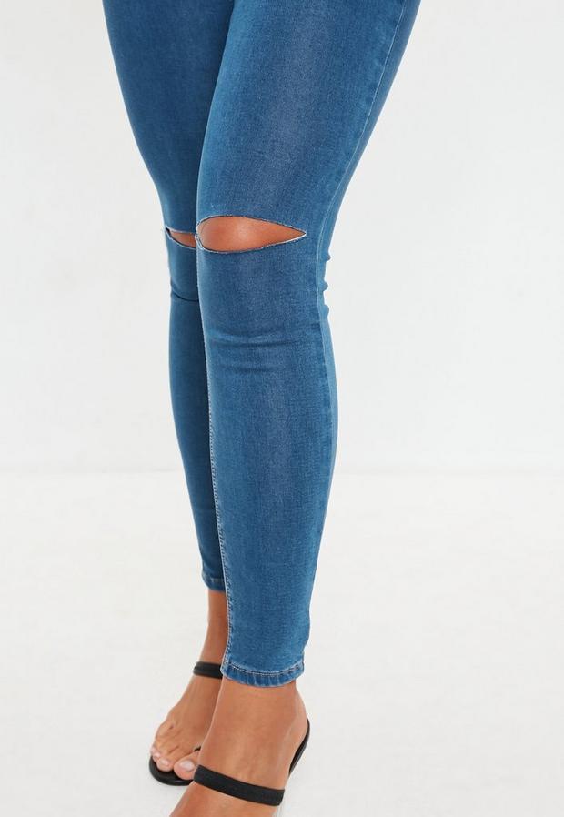 Missguided - High Waisted Slash Knee Skinny Jeans - 3