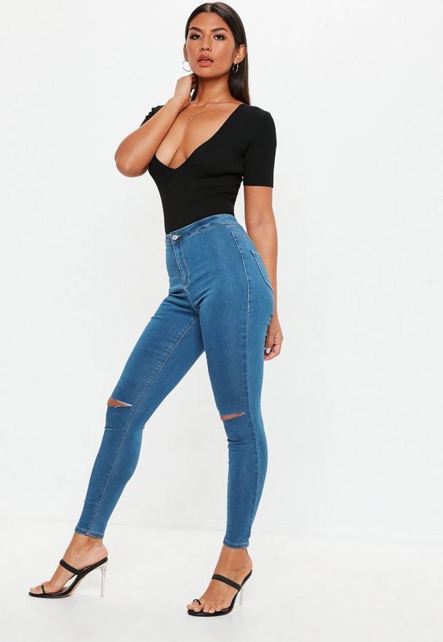 Missguided - High Waisted Slash Knee Skinny Jeans - 4