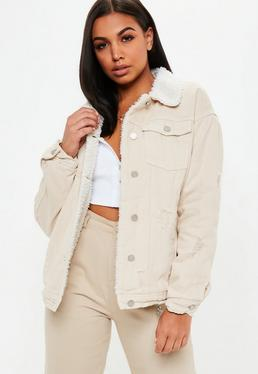 Cream Borg Lined Denim Jacket