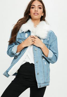 White Faux Fur Collar Denim Jacket