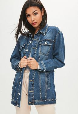 Blue Studded Longline Denim Jacket