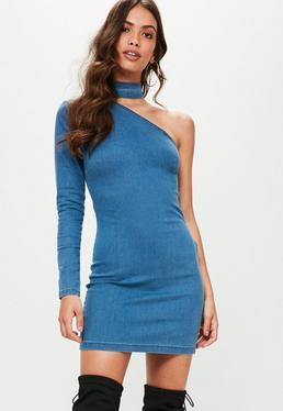 Blue Choker Detail One Sleeve Denim Dress