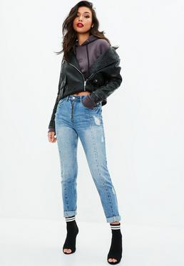 Riot Blue High Rise Zip Front Mom Jeans