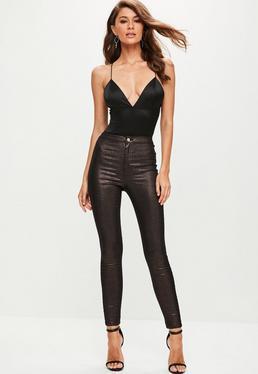 Burgundy Vice Metallic Coated Jeans
