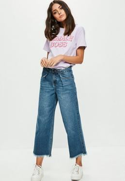 Blue Pleated Detail Wide Leg Jeans