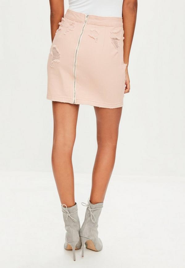 pink ripped denim mini skirt missguided australia