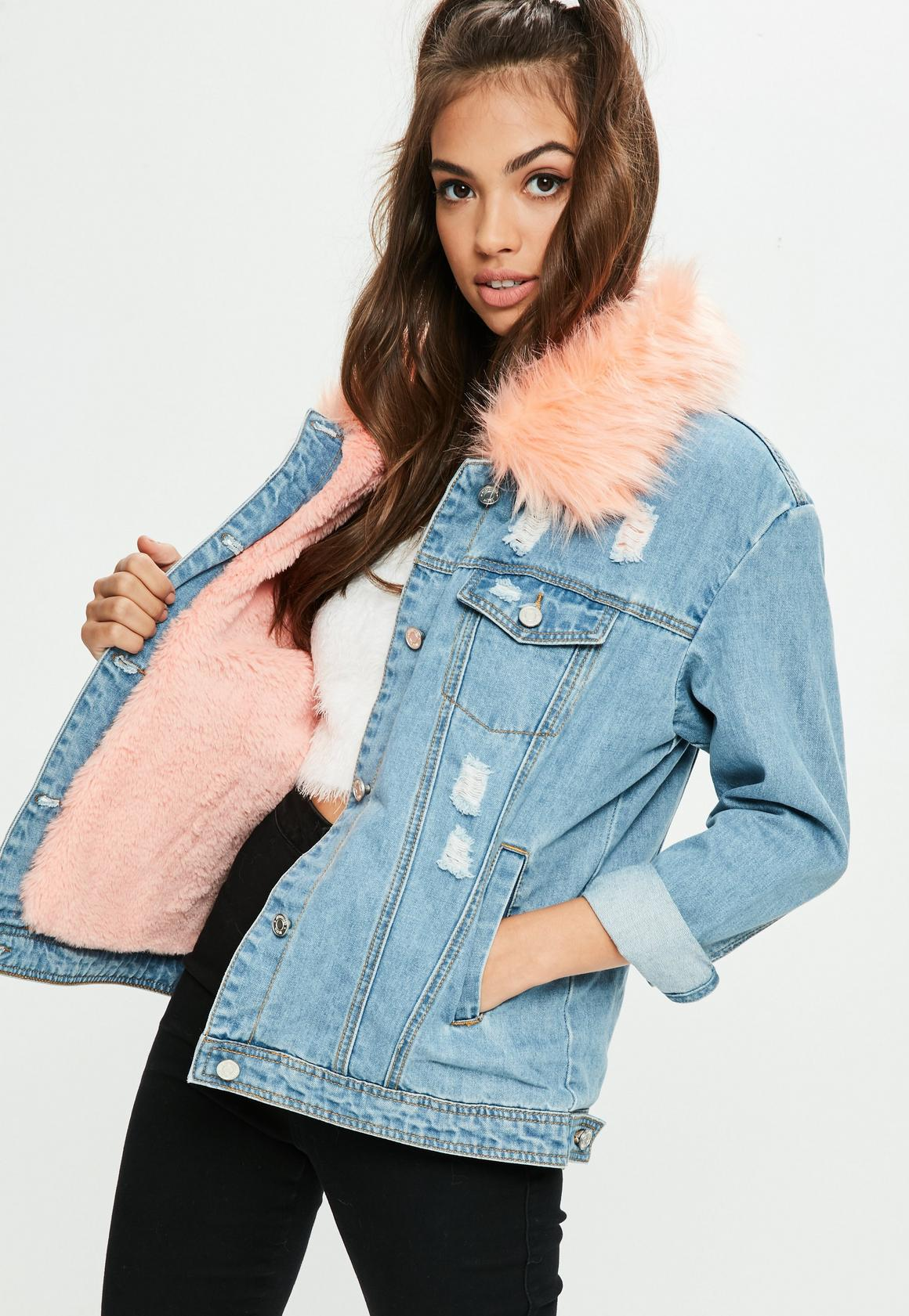Blue Pink Faux Fur Collar Denim Jacket | Missguided