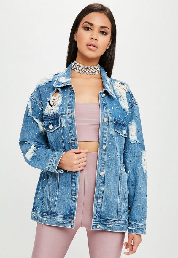Carli bybel x missguided blaue ripped jeansjacke mit - Jeansjacke perlen ...