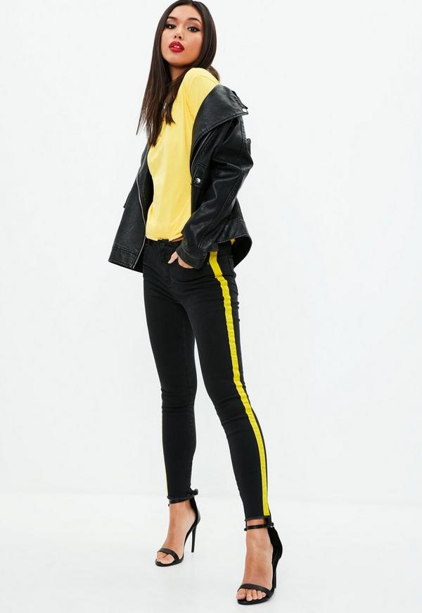 Black Anarchy Mid Rise Skinny Side Stripe Jeans Missguided