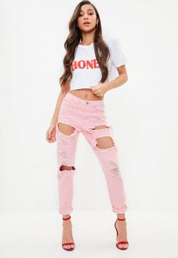 Pink Riot High Rise Ripped Jeans
