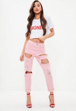 Różowe spodnie Riot z dziurami