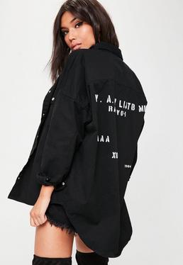 Black Oversized Military Print Denim Shirt