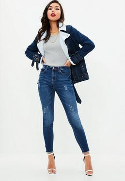 Niebieskie dopasowane jeansy Sinner
