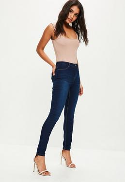Dark Blue Lawless High Waisted Skinny Jeans