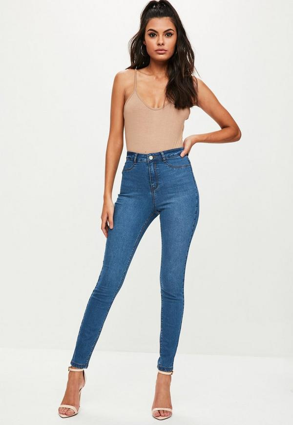 blue lawless high waisted skinny jeans missguided. Black Bedroom Furniture Sets. Home Design Ideas