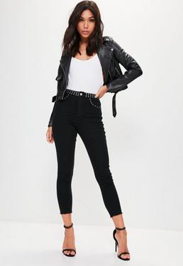 Black Vice Studded Waistband Cropped Skinny Jeans