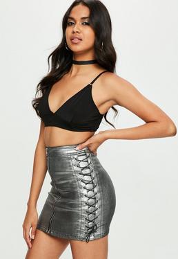 Szara metaliczna spódniczka mini