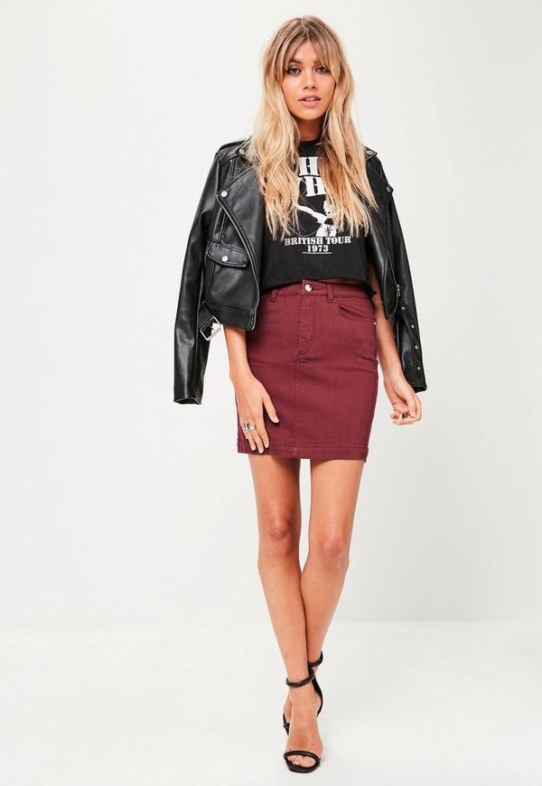 burgundy stretch denim mini skirt missguided
