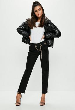 Black Wrath Chain Belt Straight Leg Jeans