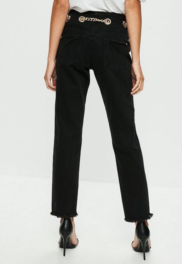 Black Wrath Chain Belt Straight Leg Jeans | Missguided