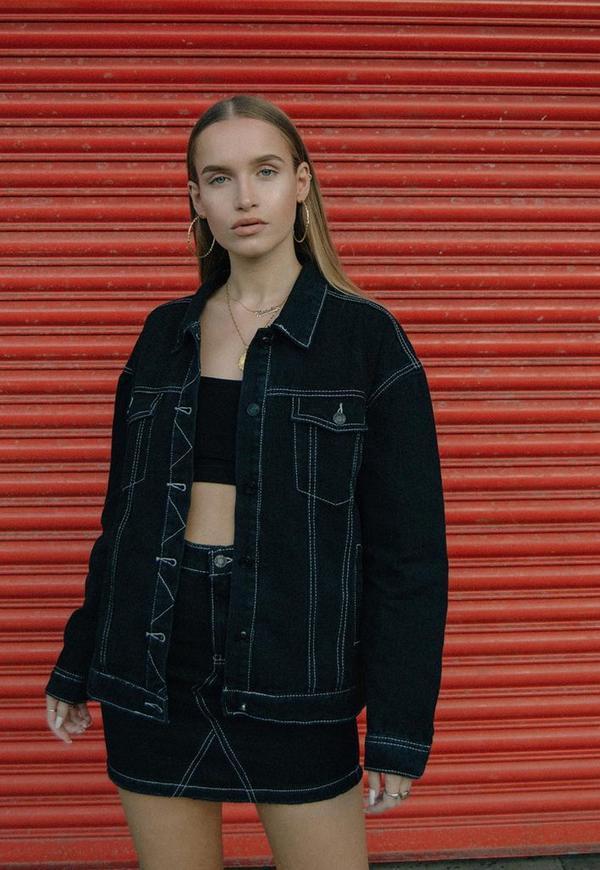 Black Contrast Stitch Denim Jacket Missguided