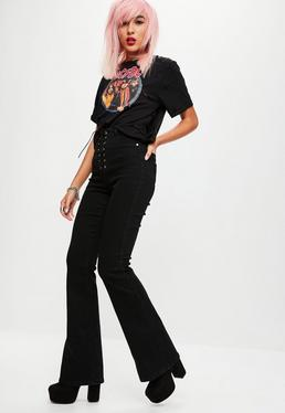 Black Lace Up High Rise Flared Jeans