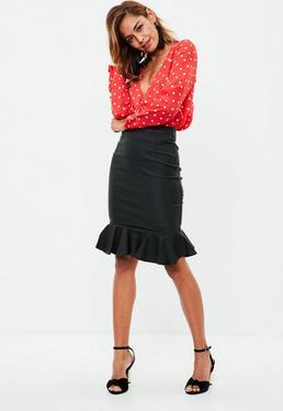 Black Coated Denim Midi Skirt