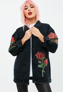 Black Denim Sequin Oversized Trucker Jacket